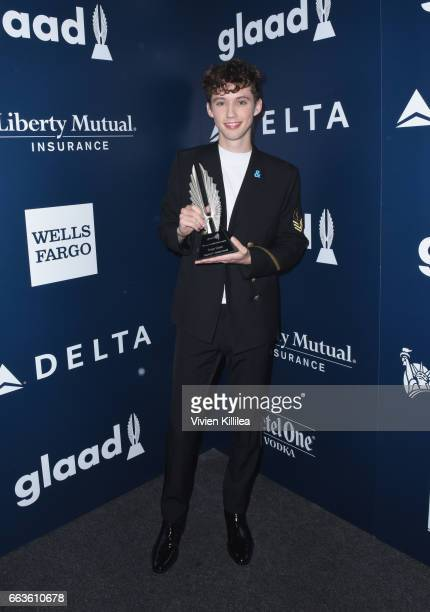 Singer Troye Sivan attends 28th Annual GLAAD Media Awards in LA at The Beverly Hilton Hotel on April 1 2017 in Beverly Hills California