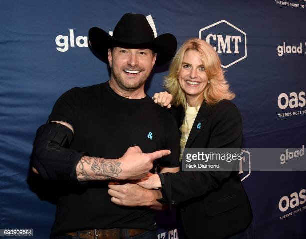 Singer Ty Herndon and president and CEO of GLAAD Sarah Kate Ellis attends the 2017 Concert for Love Acceptance on June 8 2017 in Nashville Tennessee