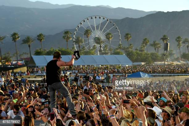 Singer Tyler Farr performs on the Toyota Mane Stage during day 3 of 2017 Stagecoach California's Country Music Festival at the Empire Polo Club on...