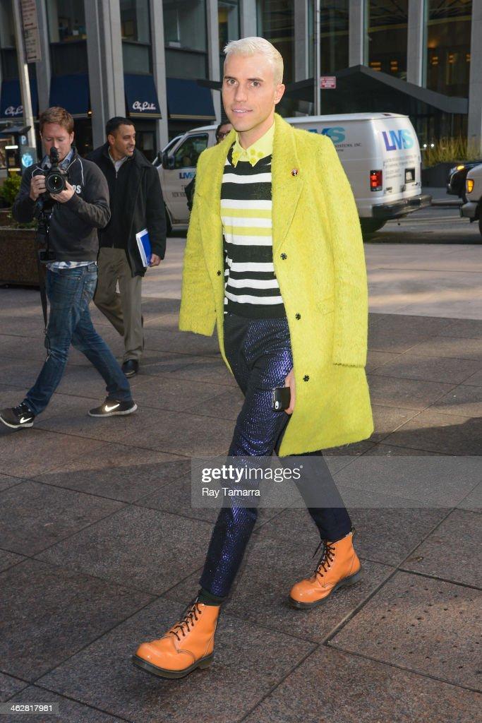 Singer Tyler Glenn enters the Sirius XM Studios on January 15, 2014 in New York City.
