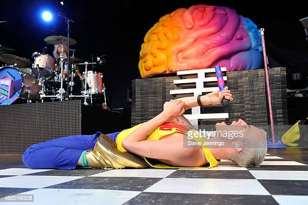Singer Tyler Glenn of the band Neon Trees performs onstage during Chipotle's Cultivate San Francisco Food Music and Ideas Festival at Golden Gate...