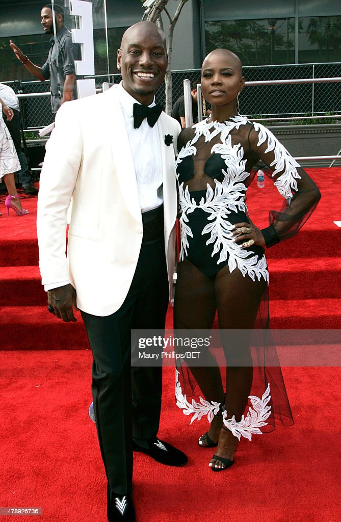 Singer Tyrese Gibson (L) and guest attend the Nissan red carpet during the 2015 BET Awards at the Microsoft Theater on June 28, 2015 in Los Angeles, California.