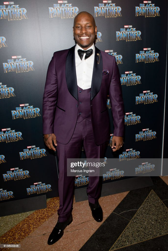 Singer Tyrese Gibson attends the Marvel Studios 'Black Panther' Atlanta movie screening at The Fox Theatre on February 7, 2018 in Atlanta, Georgia.