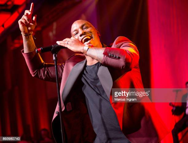 Singer Tyrese Gibson performs onstage during the 34th Annual UNCF Atlanta Mayor's Masked Ball at Atlanta Marriott Marquis on December 16 2017 in...