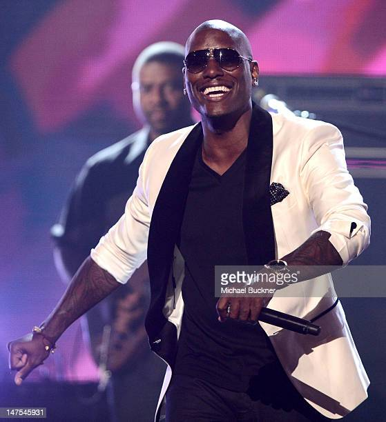 Singer Tyrese performs onstage during the 2012 BET Awards at The Shrine Auditorium on July 1 2012 in Los Angeles California