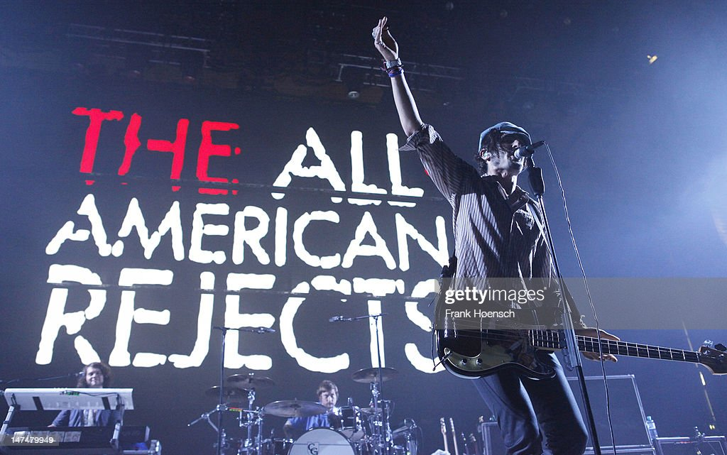 Singer Tyson Ritter of the band The All-American Rejects performs live in support of Blink 182 during a concert at the Max-Schmeling-Halle on June 30, 2012 in Berlin, Germany.