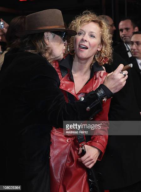 Singer Udo Lindenberg and Katja Riemann arrive for the 'Hinterm Horizont' musical premiere at Theater am Potsdamer Platz on January 13 2011 in Berlin...