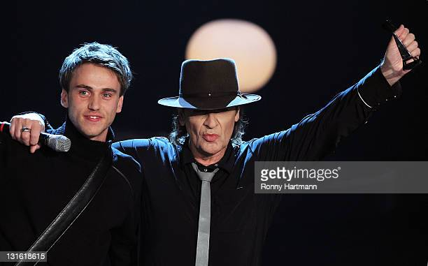 Singer Udo Lindenberg and singer Clueso perform during the 198th 'Wetten dass ' show at Messe Leipzig on November 5 2011 in Leipzig Germany