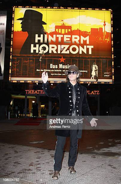 Singer Udo Lindenberg attends a photocall for the 'Hinterm Horizont' musical by Udo Lindenberg on January 12 2011 in Berlin Germany