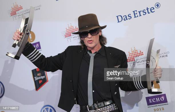 Singer Udo Lindenberg holds his Echo Music Awards at the Echo Award 2012 on March 22 2012 in Berlin Germany