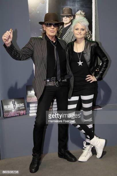 Singer Udo Lindenberg pose with photographer Tine Acke for a photo during the presentation of a book about his life at the 2017 Frankfurt Book Fair...