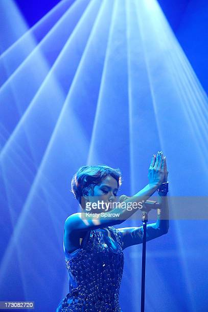 Singer Una performs during the JE live house 'TOYOTA x STUDIO4AC meets ANA PES' concert during the Japan Expo at Paris-nord Villepinte Exhibition...