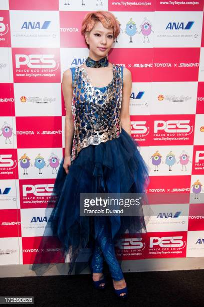 Singer Una poses at the 'TOYOTA x STUDIO4AC meets ANA PES' press conference during the Japan Expo at Paris-nord Villepinte Exhibition Center on July...