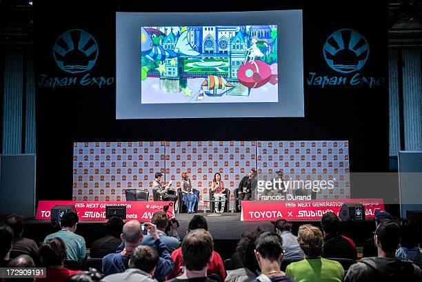 Singer Una Takao Minai Toshiyuki Kubooka and Tatsuyuki Tanaka attend the 'TOYOTA x STUDIO4AC meets ANA PES' world premiere screening during the Japan...