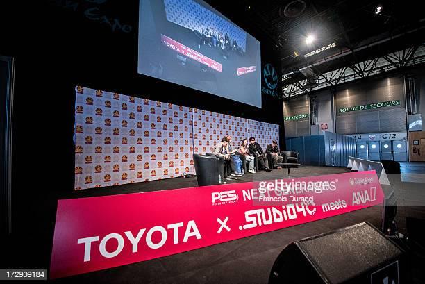 Singer Una Toshiyuki Kubooka and Tatsuyuki Tanaka attend the 'TOYOTA x STUDIO4AC meets ANA PES' world premiere screening during the Japan Expo at...