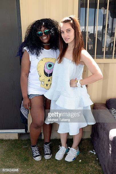 Singer UNIIQU3 and DJ Nina Las Vegas poses backstage during day 1 of the 2016 Coachella Valley Music Arts Festival Weekend 2 at the Empire Polo Club...