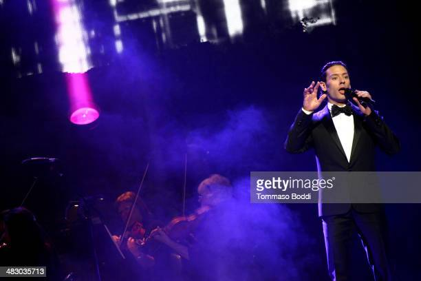 Singer Urs Buhler of Il Divo performs at the Dolby Theatre on April 5 2014 in Hollywood California