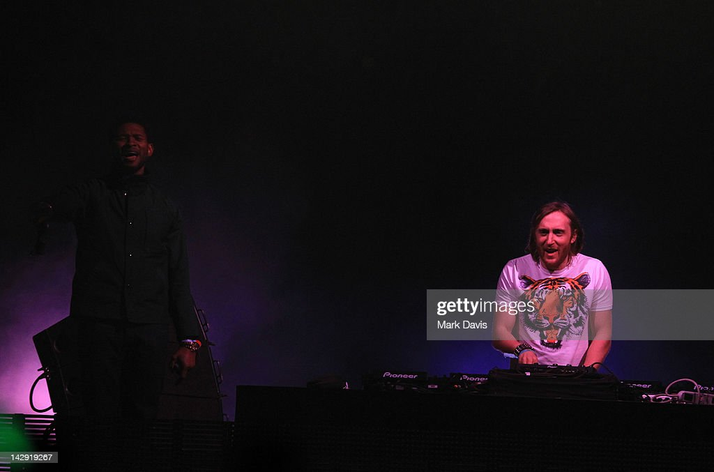 Singer Usher (L) and DJ David Guetta perform onstage at the 2012 Coachella Valley Music & Arts Festival held at The Empire Polo Field on April 14, 2012 in Indio, California.