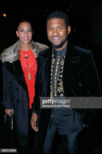 Singer Usher and his wife Grace Miguel attend the Berluti Menswear Fall/Winter 2017-2018 show as part of Paris Fashion Week on January 20, 2017 in...