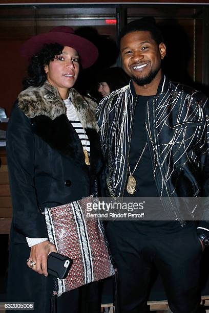 Singer Usher and his wife Grace Miguel attend the Haider Ackermann Menswear Fall/Winter 2017-2018 show as part of Paris Fashion Week. Held at Galerie...