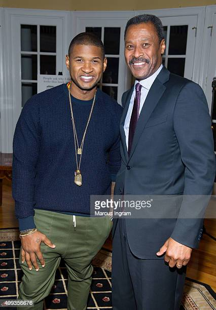 Singer Usher and Morehouse College President Dr John Silvanus Wilson Jr attend an intimate gathering in honor of Norman Lear at Morehouse College on...