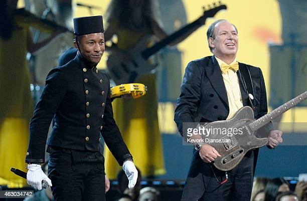 Singer Usher and musician Hans Zimmer perform Happy onstage during The 57th Annual GRAMMY Awards at the at the STAPLES Center on February 8 2015 in...