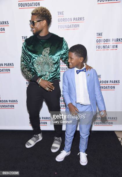 Singer Usher and son Naviyd Ely Raymond attend the 2017 Gordon Parks Foundation Awards gala at Cipriani 42nd Street on June 6 2017 in New York City
