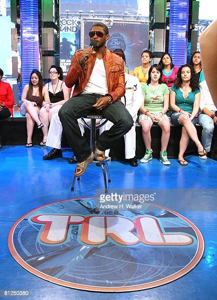 Singer Usher appears onstage during MTV's Total Request Live at the MTV Times Square Studios on May 27 2008 in New York City