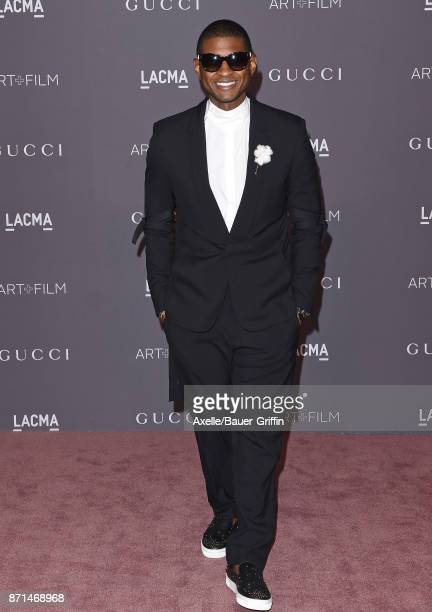 Singer Usher arrives at the 2017 LACMA Art Film Gala at LACMA on November 4 2017 in Los Angeles California