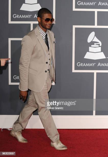 Singer Usher arrives at the 52nd Annual GRAMMY Awards held at Staples Center on January 31, 2010 in Los Angeles, California.
