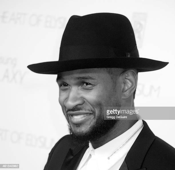 Singer Usher arrives at The Art Of Elysium's 8th Annual Heaven Gala at Hangar 8 on January 10 2015 in Santa Monica California