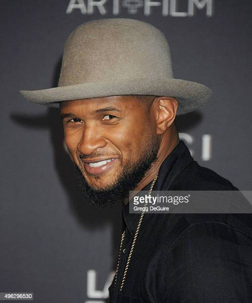 Singer Usher arrives at the LACMA 2015 ArtFilm Gala Honoring James Turrell And Alejandro G Inarritu Presented By Gucci at LACMA on November 7 2015 in...