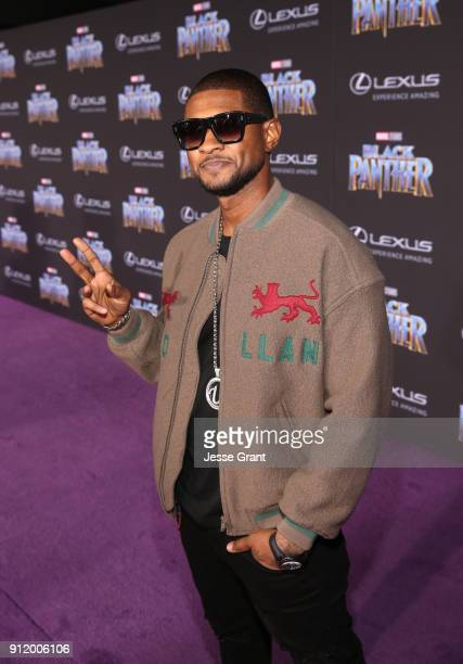 Singer Usher at the Los Angeles World Premiere of Marvel Studios' BLACK PANTHER at Dolby Theatre on January 29 2018 in Hollywood California