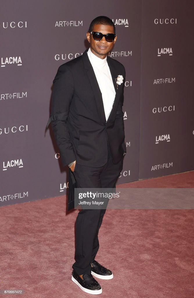 Singer Usher attends the 2017 LACMA Art + Film Gala Honoring Mark Bradford and George Lucas presented by Gucci at LACMA on November 4, 2017 in Los Angeles, California.