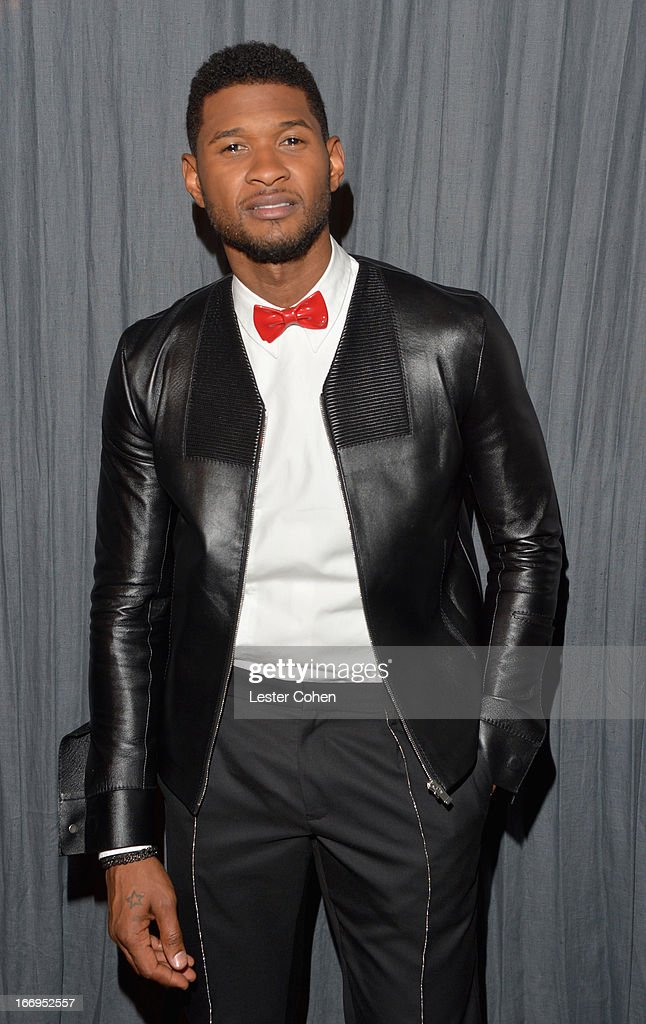 Singer Usher attends the 28th Annual Rock and Roll Hall of Fame Induction Ceremony at Nokia Theatre L.A. Live on April 18, 2013 in Los Angeles, California.