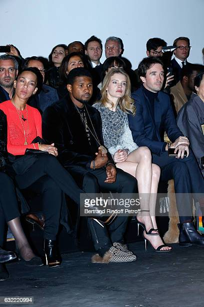 Singer Usher his wife Grace Miguel Natalia Vodianova and General manager of Berluti Antoine Arnault attend the Berluti Menswear Fall/Winter 20172018...