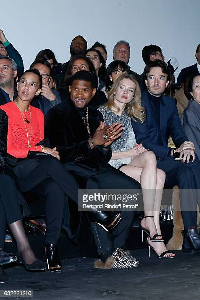 Singer Usher, his wife Grace Miguel, Natalia Vodianova and General manager of Berluti Antoine Arnault attend the Berluti Menswear Fall/Winter...