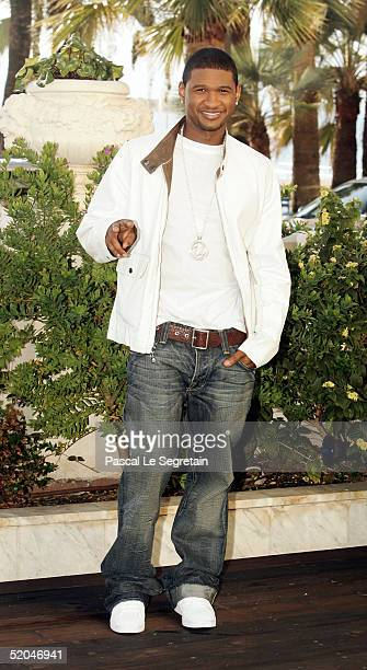 Singer Usher is seen at the Palais des Festivals during the 39th MIDEM International Music Market on January 21 2005 in Cannes France The event is a...