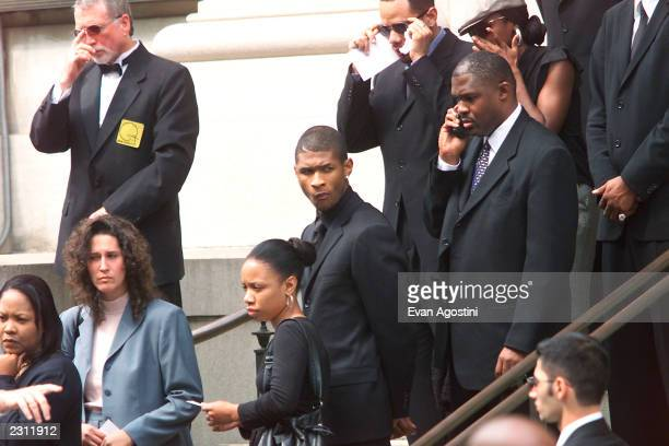 Singer Usher leaving R B singer Aaliyah's memorial service at St Ignatius Loyola Roman Catholic Church in New York City 8/31/2001 Photo Evan...