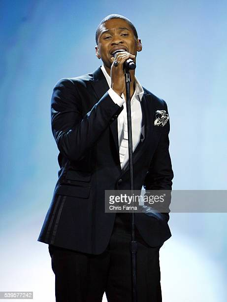 Singer Usher makes an appearance during the keynote address of Sir Howard StringerChairman and CEO of Sony Corporation at the 2009 International...
