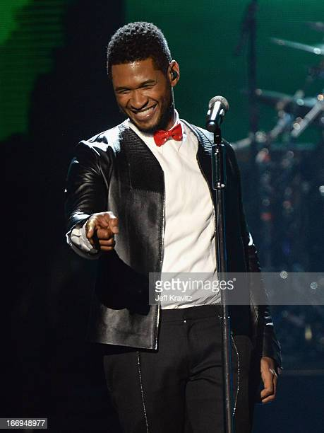 Singer Usher performs at the 28th Annual Rock and Roll Hall of Fame Induction Ceremony at Nokia Theatre LA Live on April 18 2013 in Los Angeles...