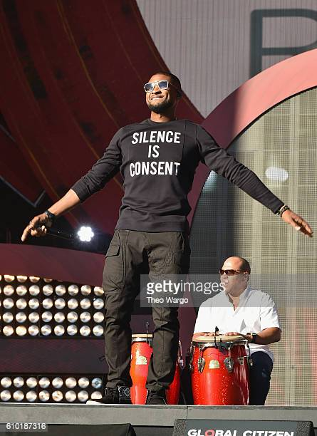 Singer Usher performs onstage at the 2016 Global Citizen Festival In Central Park To End Extreme Poverty By 2030 at Central Park on September 24 2016...