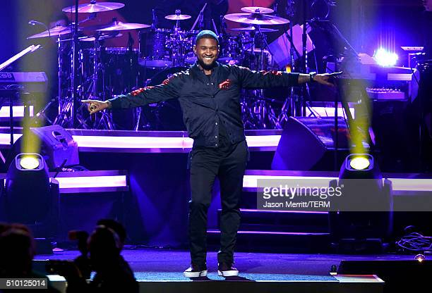 Singer Usher performs onstage at the 2016 MusiCares Person of the Year honoring Lionel Richie at the Los Angeles Convention Center on February 13,...