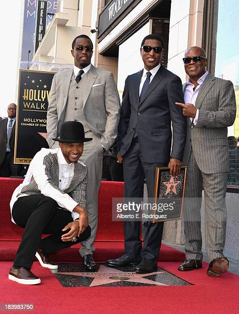 Singer Usher Raymond businessman/singer Sean Combs songwriter/record producer Kenny Babyface Edmonds and record producer Antonio LA Reid attend a...
