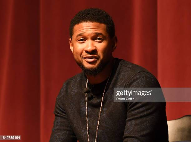 """Singer Usher Raymond onstage at Morehouse College 150th Anniversary: """"Reflections of Excellence"""" at Ray Charles Performing Arts Center at Morehouse..."""