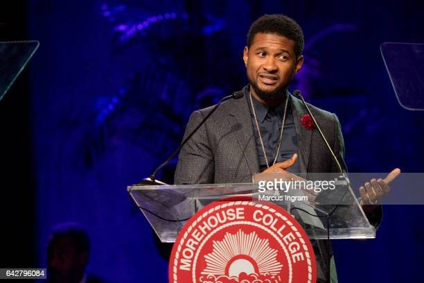 Singer Usher Raymond speaks on stage as he receives the Candle Award in Philanthropy, Arts and Entertainment during the Morehouse College 29th annual...
