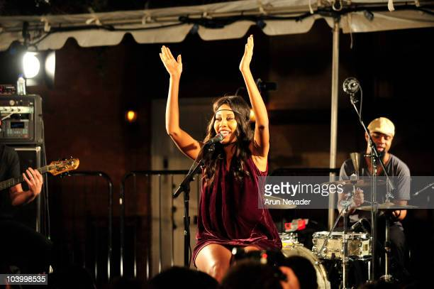 Singer V V Brown performs onstage at the Teen Vogue celebration of Fashion's Night Out at West Village Bleecker Street on September 10 2010 in New...