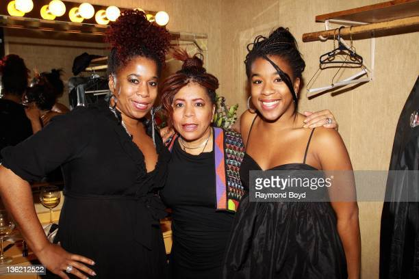 Singer Valerie Simpson poses for photos with her daughters Nicole and Asia after her first solo performance since the death of her husband and...