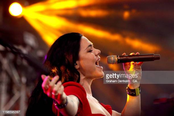 Singer Vanessa Amorosi performs during the Big Bash League match between the Melbourne Renegades and the Melbourne Stars at Marvel Stadium on January...