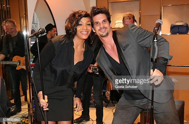 Singer Vanessa Ekpenyong and her husband Tommy Reeve during the TOD'S 'The art of leather' party on April 28 2016 in Munich Germany